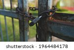 Closed Metal Gate Secured With...