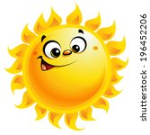 shining yellow smiling sun... | Shutterstock .eps vector #196452206