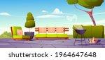 house backyard  patio with sofa ... | Shutterstock .eps vector #1964647648