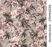 Stock photo seamless floral pattern with red purple and pink roses on light background watercolor 196466036