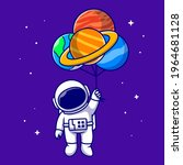cute astronaut floating with... | Shutterstock .eps vector #1964681128