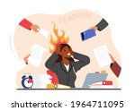 overloaded business woman... | Shutterstock .eps vector #1964711095