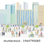 big city with people on the... | Shutterstock .eps vector #1964790085