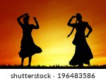 women dancing indian dance at... | Shutterstock . vector #196483586