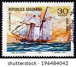 argentina   circa 1977  a stamp ... | Shutterstock . vector #196484042