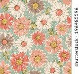 Seamless Vintage Flower Daisy...