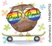 cool cartoon cute owl with sun... | Shutterstock . vector #1964869702