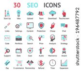 30 assorted seo icons in red ... | Shutterstock . vector #196487792