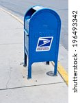 A Blue Us Post Office Box On...