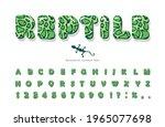 reptile skin cartoon font.... | Shutterstock .eps vector #1965077698