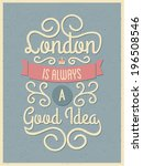 vintage style typography london ... | Shutterstock .eps vector #196508546