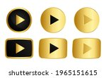 set of gold play button icon ...