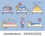 people suffering from insomnia... | Shutterstock .eps vector #1965225202