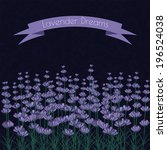 lavender sprigs on the dark... | Shutterstock .eps vector #196524038