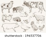 Farm Animals. Set Of Vector...