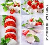 collage of cheese mozzarella... | Shutterstock . vector #196542878