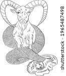 capricorn vector and flower of...   Shutterstock .eps vector #1965487498