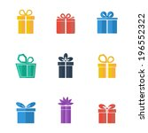 gift box colorful icons set on... | Shutterstock .eps vector #196552322