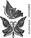 silhouette butterfly with open... | Shutterstock .eps vector #196556882