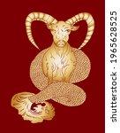 capricorn vector and flower of...   Shutterstock .eps vector #1965628525