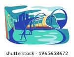 high speed futuristic train... | Shutterstock .eps vector #1965658672