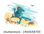 blue angry dino raptor vector... | Shutterstock .eps vector #1965658705