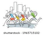 marathon runners in a city...   Shutterstock .eps vector #1965715102