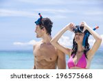 people snorkeling at the... | Shutterstock . vector #196575668
