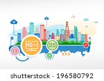 lcd tv full hd and cityscape... | Shutterstock .eps vector #196580792