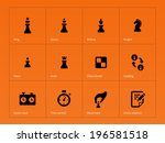 chess figures icons on orange...