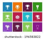trophy cup icons on color...