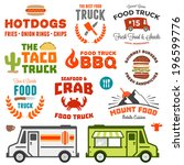 set of food truck logo graphics ... | Shutterstock .eps vector #196599776