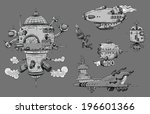 a collection of cartoon... | Shutterstock .eps vector #196601366