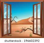 illustration of an open window... | Shutterstock .eps vector #196602392