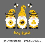 bee gnomes with quote  bee kind.... | Shutterstock .eps vector #1966064332