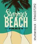 typographic summer beach party... | Shutterstock .eps vector #1966107292