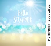 hello summer. poster on... | Shutterstock .eps vector #196612622
