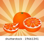 orange fruit  whole  halved ... | Shutterstock .eps vector #19661341