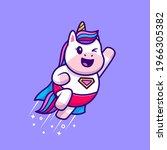 cute unicorn super hero flying... | Shutterstock .eps vector #1966305382