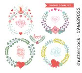 set of cute floral stylized... | Shutterstock .eps vector #196639022