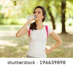 girl drinking water after sport | Shutterstock . vector #196639898