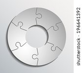 six piece flat round puzzle... | Shutterstock . vector #196641392