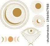 set of five lunar illustrations ...   Shutterstock .eps vector #1966467988