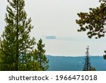 View of Stevenson Island in Yellowstone Lake With Wildfire Smoke. High quality photo