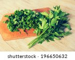 vintage photo of lovage leaves... | Shutterstock . vector #196650632