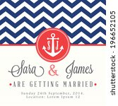 nautical wedding invitation card | Shutterstock .eps vector #196652105