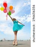 happy romantic fashion girl... | Shutterstock . vector #196656356