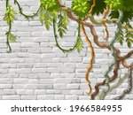 wall  branches liana  ivy....   Shutterstock .eps vector #1966584955