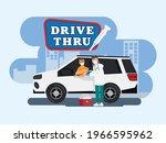 drive thru to take vaccine in... | Shutterstock .eps vector #1966595962