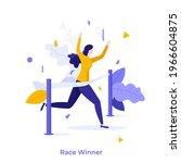 runner or athlete crossing... | Shutterstock .eps vector #1966604875